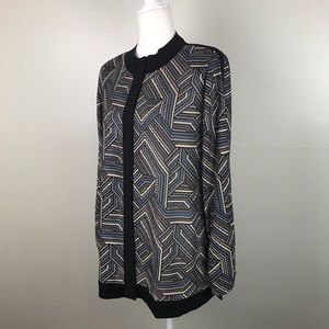 EXCLUSIVELY MISOOK Woven Geo Print Jacket Blouse